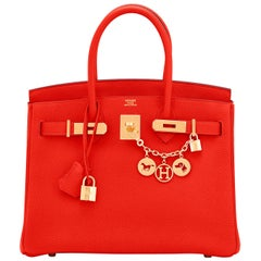 Hermes Capucine Red-Orange 30cm Togo Birkin Bag Gold Hardware