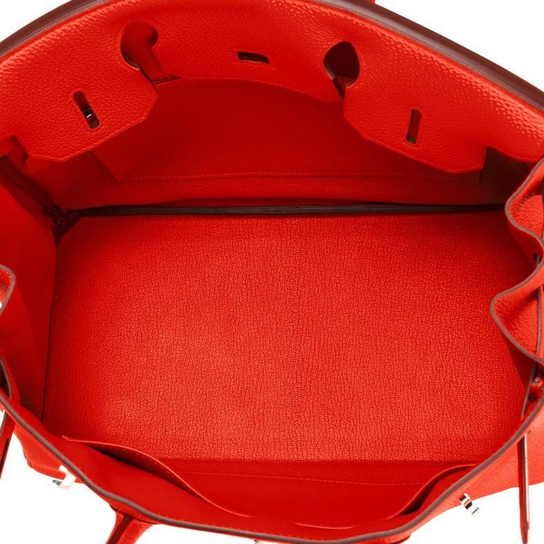 Hermes Capucine Red-Orange 30cm Togo Birkin Palladium Bag NEW For Sale 6