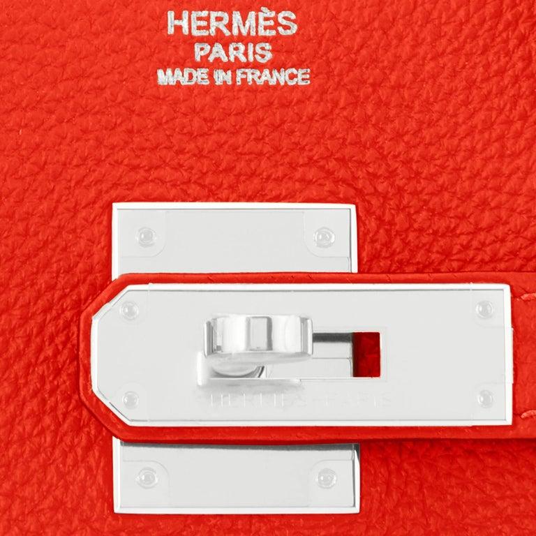 Hermes Capucine Red-Orange 30cm Togo Birkin Palladium Bag NEW For Sale 7