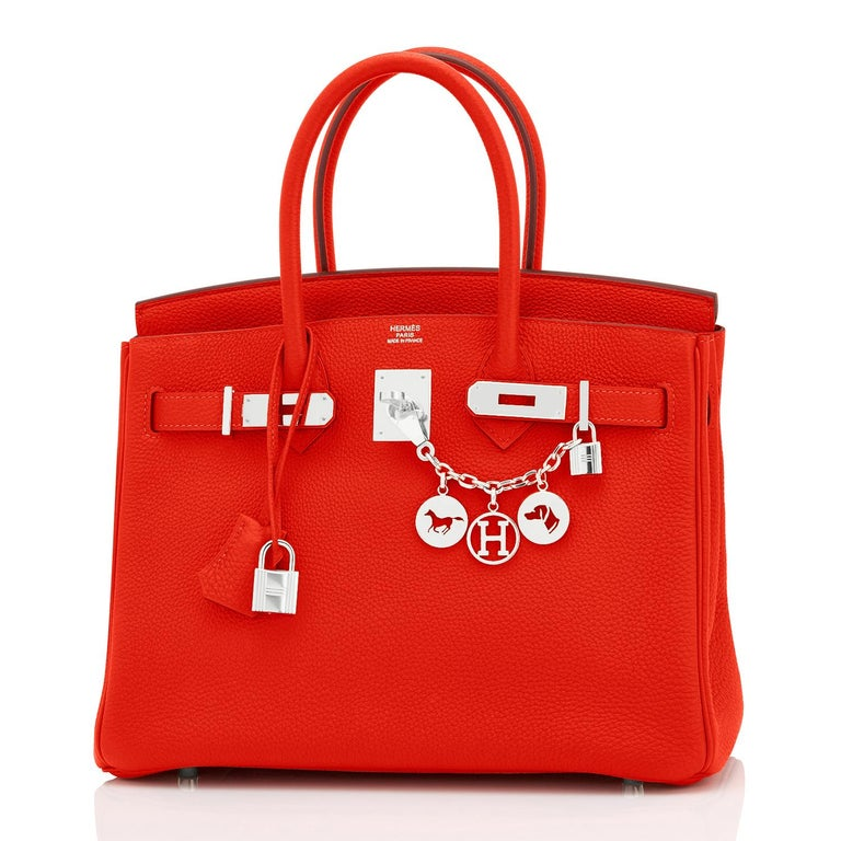 Hermes Capucine Red-Orange 30cm Togo Birkin Palladium Bag NEW Rare find in New or Never Worn, Pristine Condition (with plastic on hardware) Perfect gift! Comes in full set with lock, keys, clochette, sleeper, raincoat, and orange Hermes box.