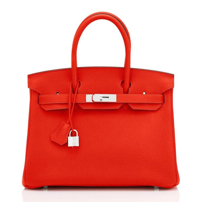 Hermes Capucine Red-Orange 30cm Togo Birkin Palladium Bag NEW In New Condition For Sale In New York, NY