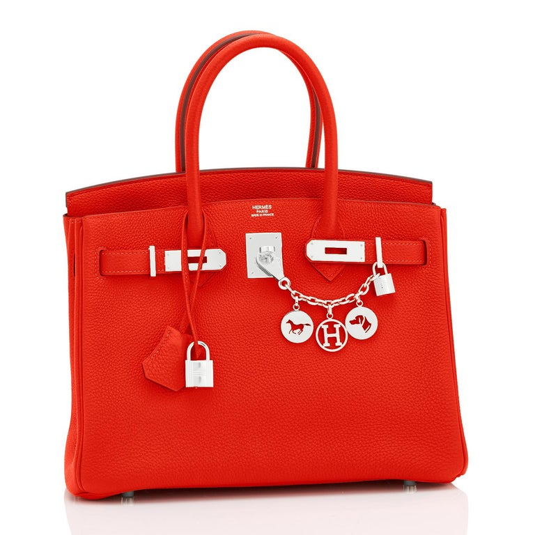 Women's Hermes Capucine Red-Orange 30cm Togo Birkin Palladium Bag NEW For Sale