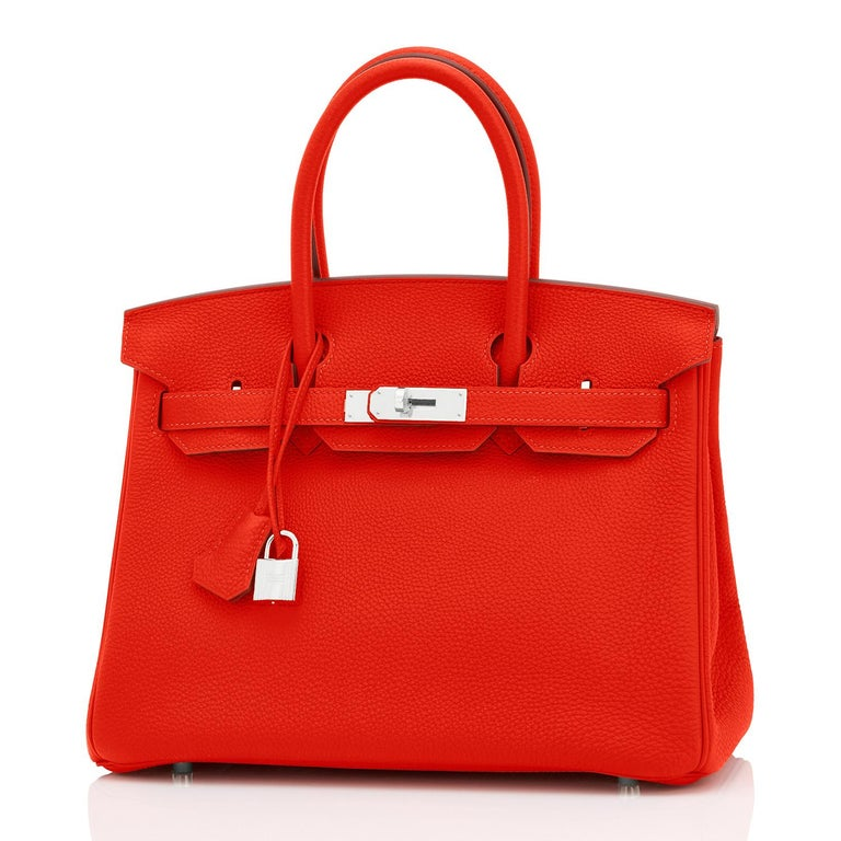 Hermes Capucine Red-Orange 30cm Togo Birkin Palladium Bag NEW For Sale 2