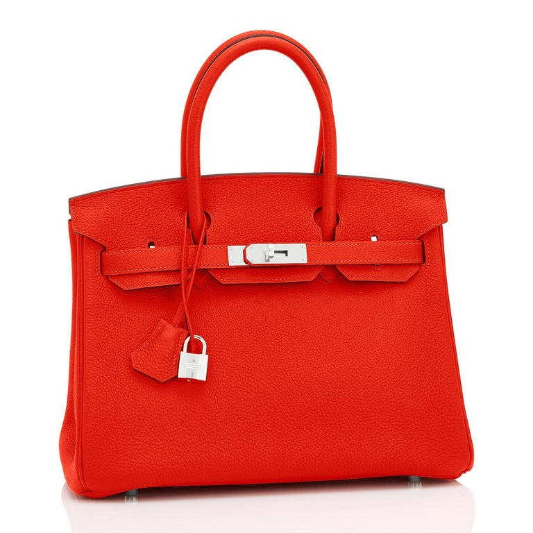 Hermes Capucine Red-Orange 30cm Togo Birkin Palladium Bag NEW For Sale 4