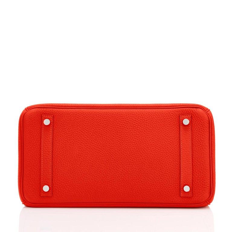 Hermes Capucine Red-Orange 30cm Togo Birkin Palladium Bag NEW For Sale 5