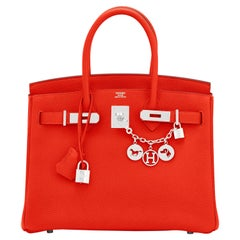 Hermes Capucine Red-Orange 30cm Togo Birkin Palladium Bag NEW