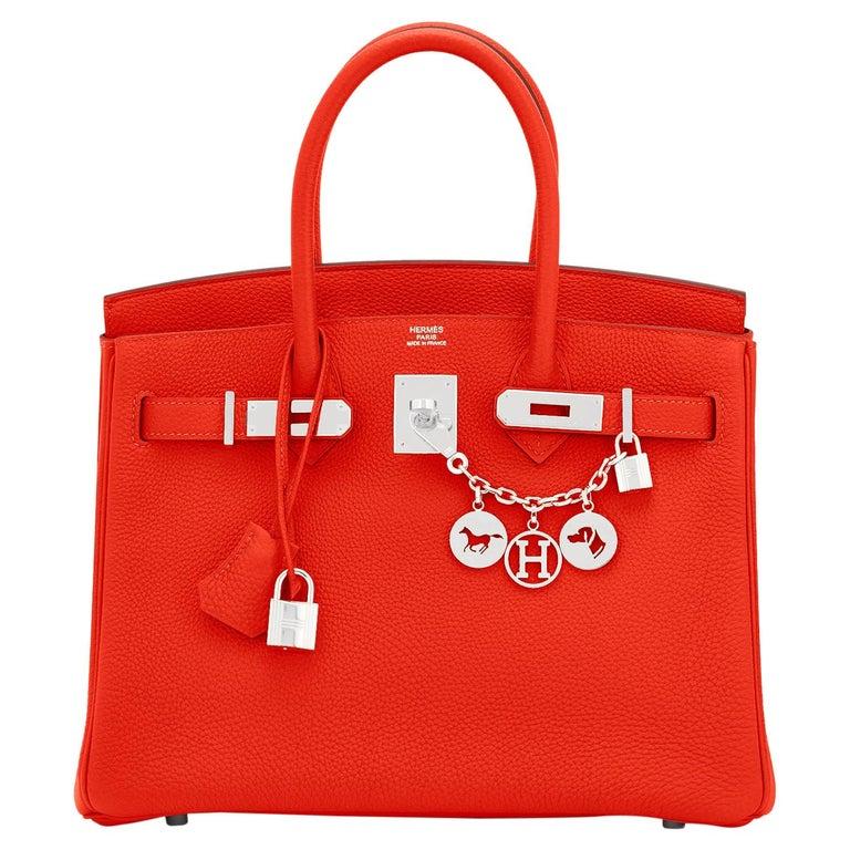 Hermes Capucine Red-Orange 30cm Togo Birkin Palladium Bag NEW For Sale