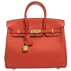 Hermes Capucine Swift Leather Gold Hardware Birkin 25 Bag