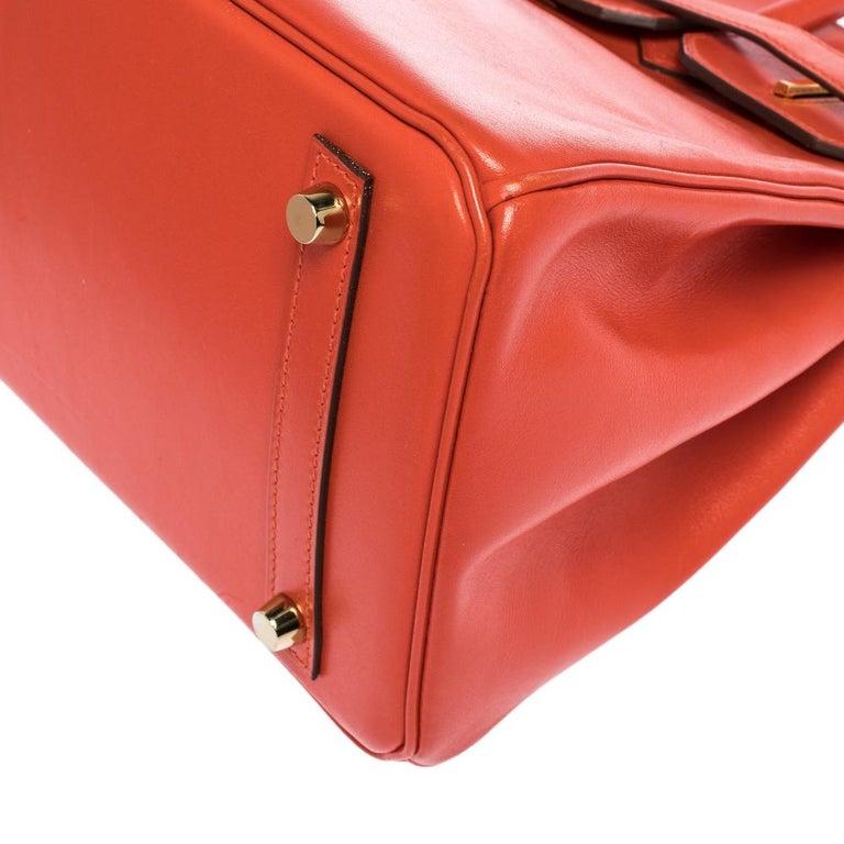 Hermes Capucine Tadelakt Leather Gold Hardware Birkin 30 Bag 5