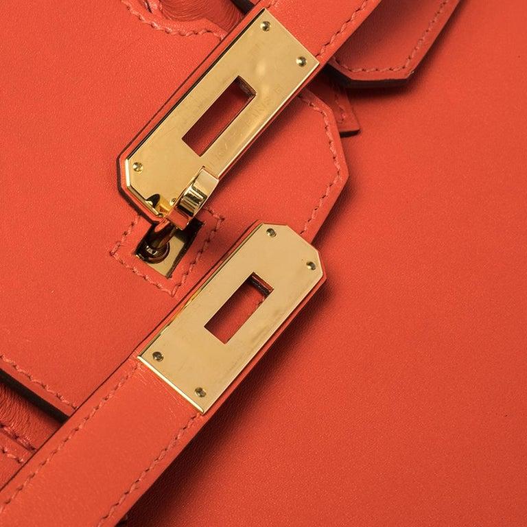 Hermes Capucine Tadelakt Leather Gold Hardware Birkin 30 Bag 6
