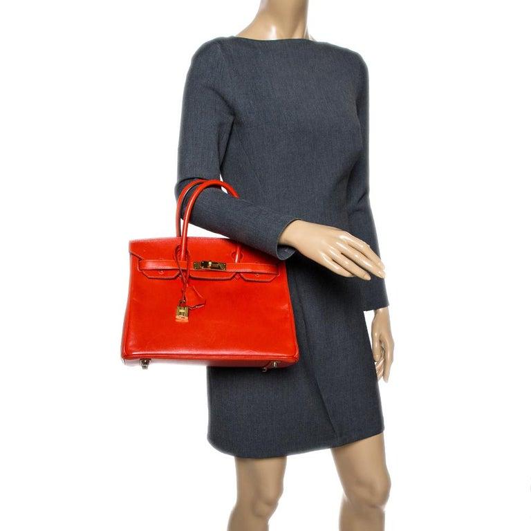 Red Hermes Capucine Tadelakt Leather Gold Hardware Birkin 30 Bag