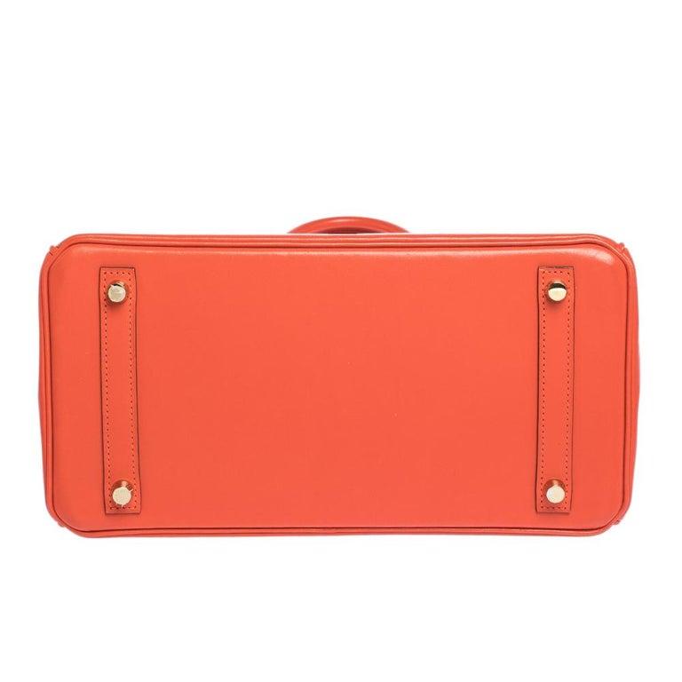 Women's Hermes Capucine Tadelakt Leather Gold Hardware Birkin 30 Bag