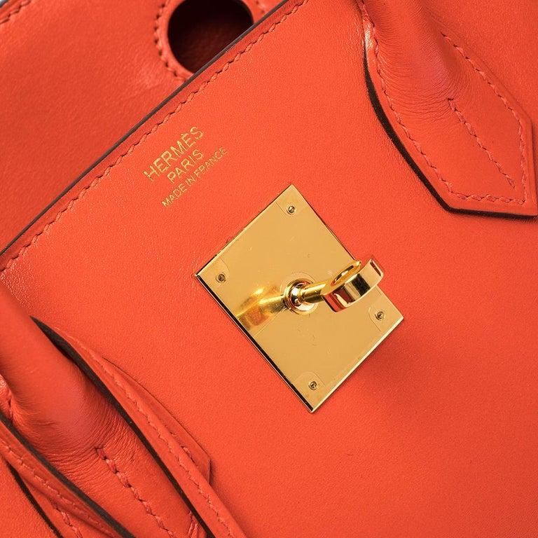 Hermes Capucine Tadelakt Leather Gold Hardware Birkin 30 Bag 3