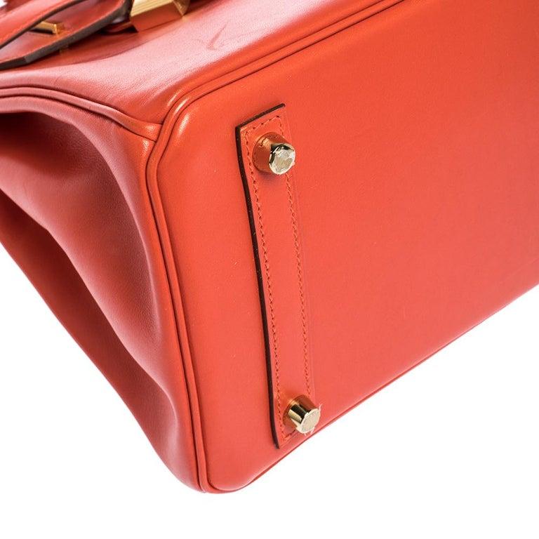 Hermes Capucine Tadelakt Leather Gold Hardware Birkin 30 Bag 4