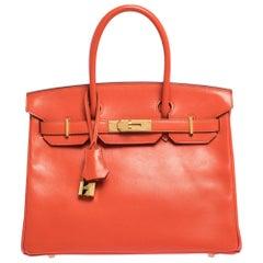 Hermes Capucine Tadelakt Leather Gold Hardware Birkin 30 Bag