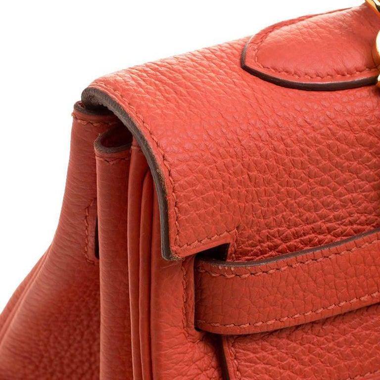 Hermes Capucine Togo Leather Gold Hardware Kelly Retourne 35 Bag For Sale 5