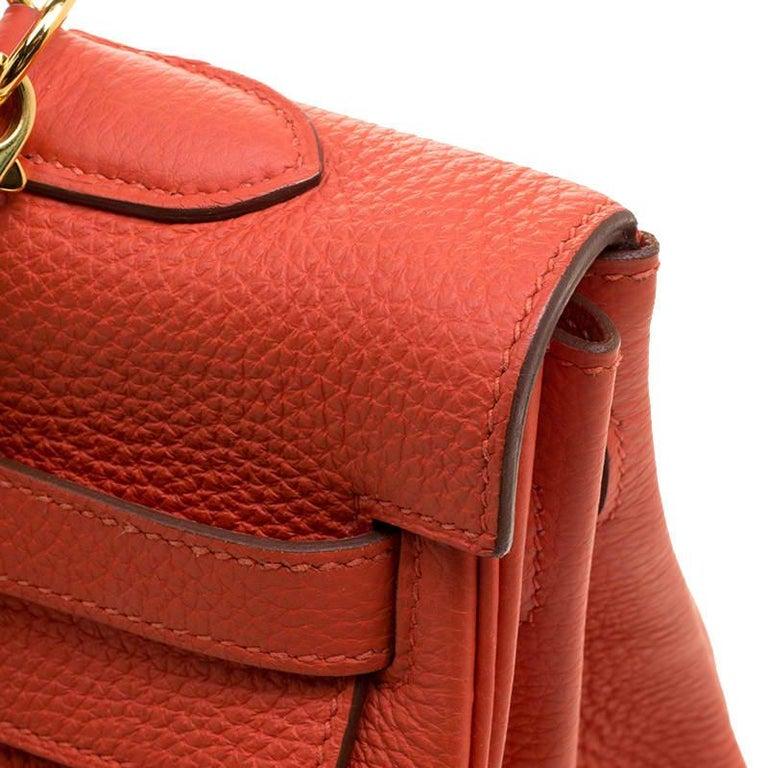 Hermes Capucine Togo Leather Gold Hardware Kelly Retourne 35 Bag For Sale 6
