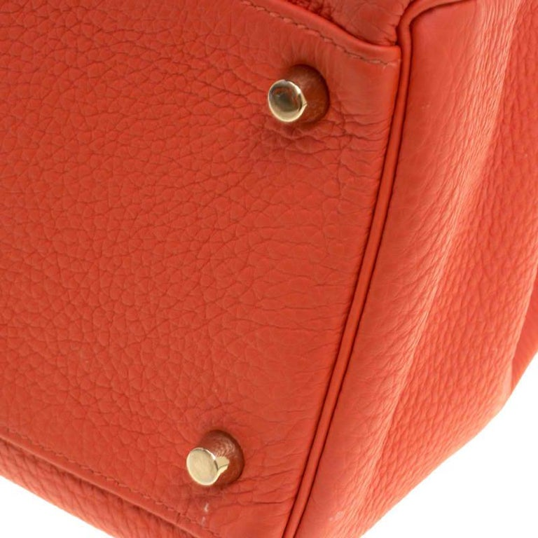Hermes Capucine Togo Leather Gold Hardware Kelly Retourne 35 Bag For Sale 8