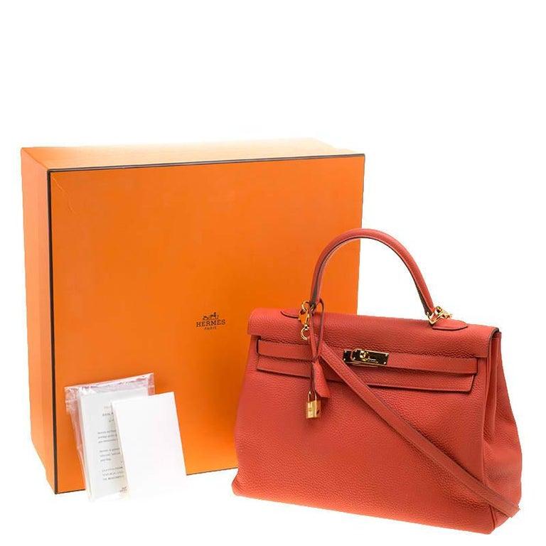 Hermes Capucine Togo Leather Gold Hardware Kelly Retourne 35 Bag For Sale 9