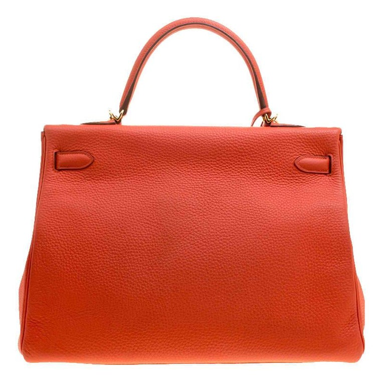 Inspired by none other than Grace Kelly of Monaco, Hermes Kelly is carefully hand stitched to perfection. This Kelly Retourne is crafted from Capucine Togo Leather and has gold-tone hardware. Retourne has a more casual look and is stitched on the