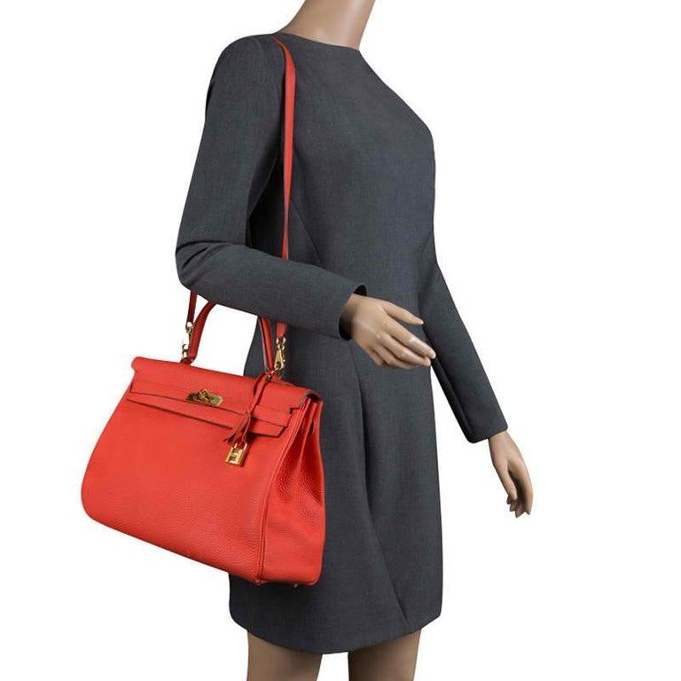 Red Hermes Capucine Togo Leather Gold Hardware Kelly Retourne 35 Bag For Sale