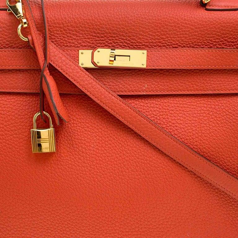 Women's Hermes Capucine Togo Leather Gold Hardware Kelly Retourne 35 Bag For Sale