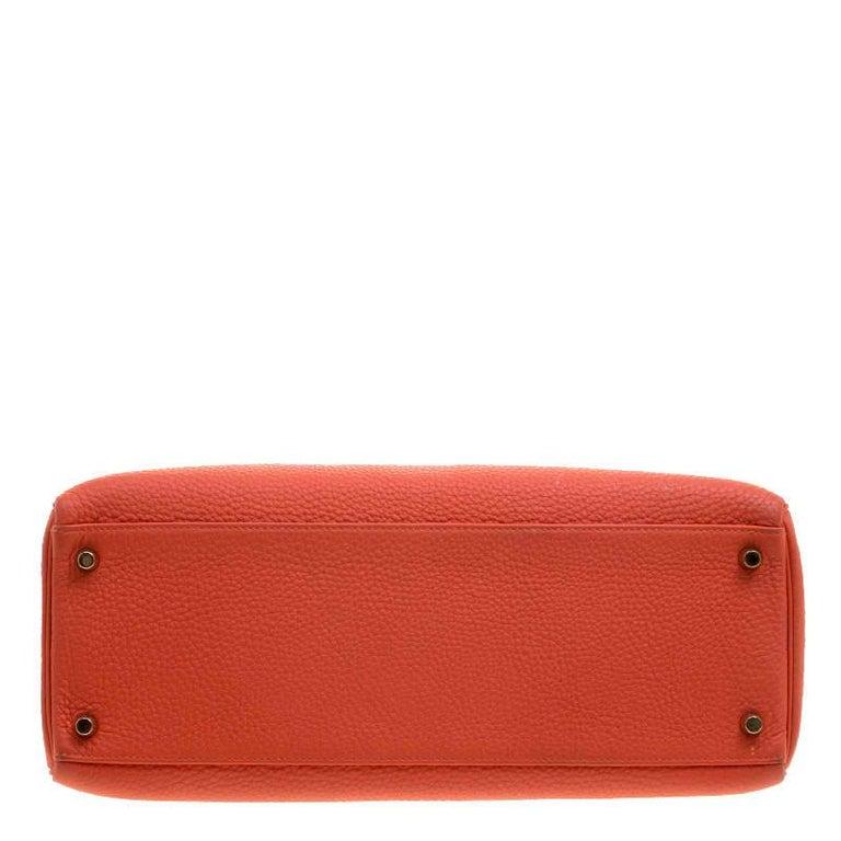Hermes Capucine Togo Leather Gold Hardware Kelly Retourne 35 Bag For Sale 1