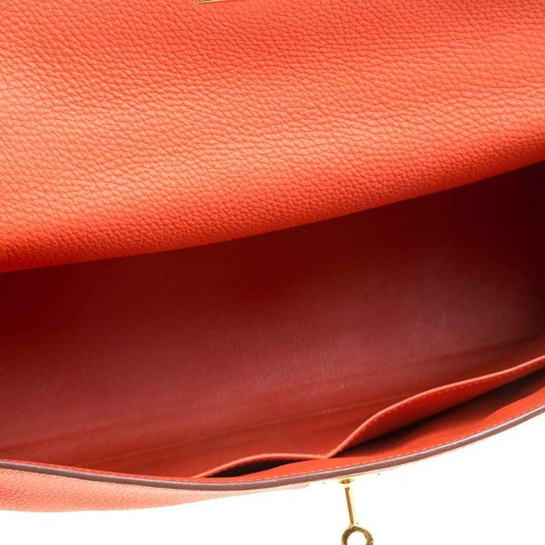 Hermes Capucine Togo Leather Gold Hardware Kelly Retourne 35 Bag For Sale 2