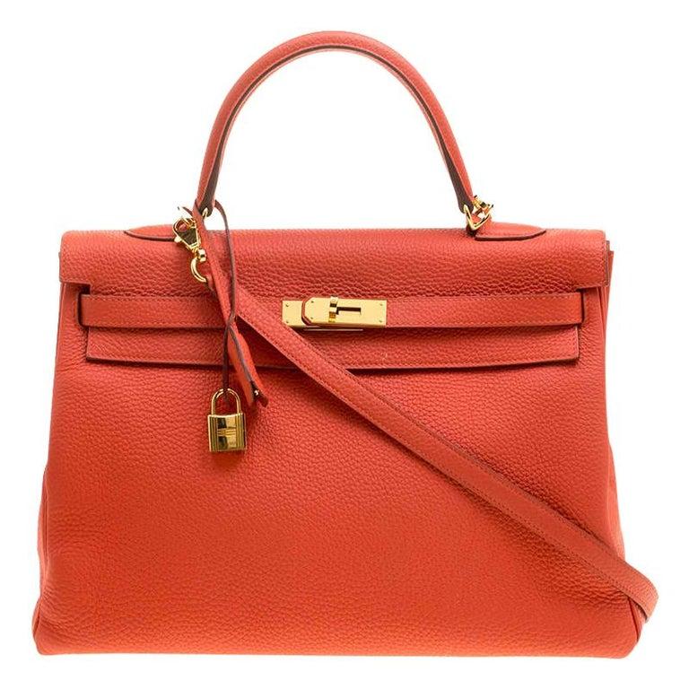 Hermes Capucine Togo Leather Gold Hardware Kelly Retourne 35 Bag For Sale