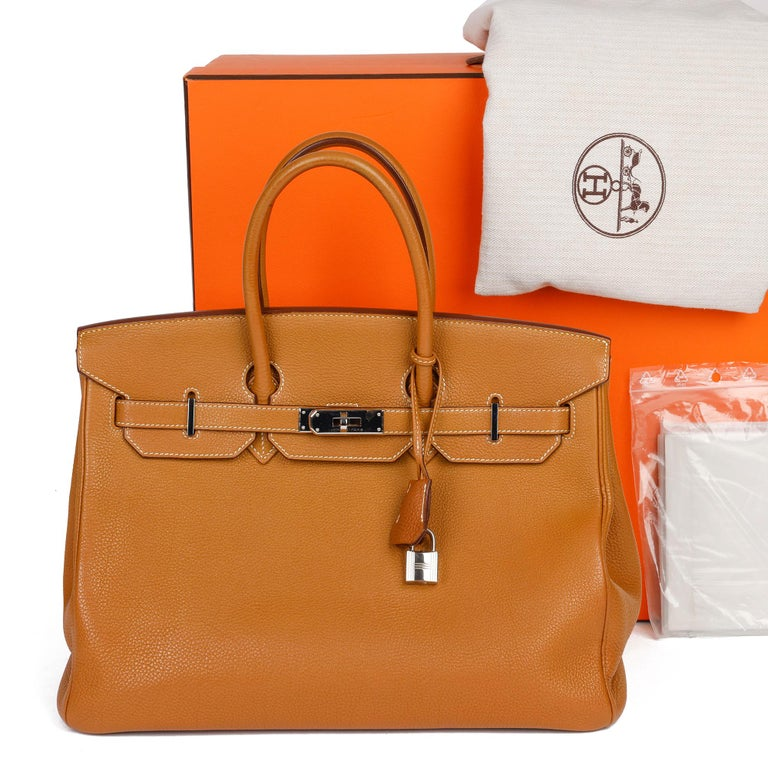Hermès Caramel Togo Leather Birkin 35cm For Sale 6