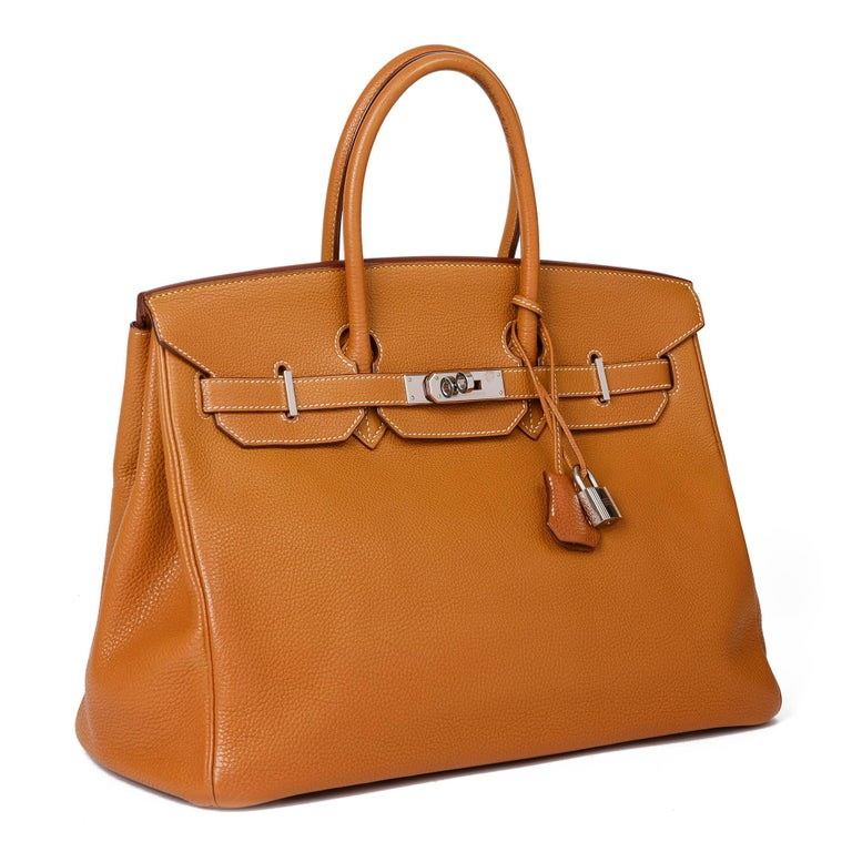 HERMÈS Caramel Togo Leather Birkin 35cm  Xupes Reference: CB347 Serial Number: [K] Age (Circa): 2007 Accompanied By: Hermès Box, Dust Bag, Lock, Keys, Clochette, Raincover  Authenticity Details: Date Stamp (Made in France) Gender: Ladies Type:
