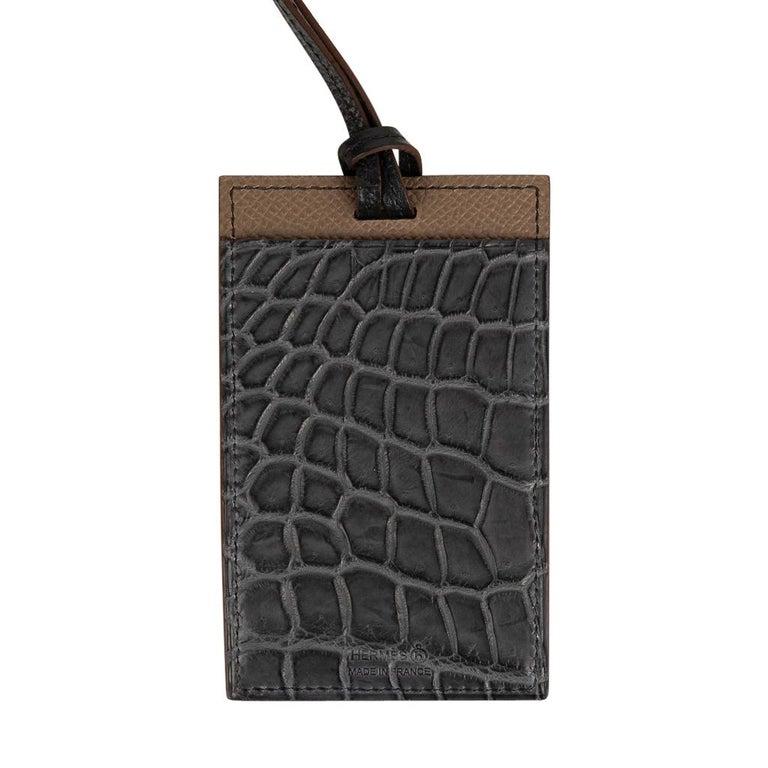 Women's or Men's Hermes Cardholder Graphite Matte Porosus Crocodile / Etoupe Epsom Petit h For Sale