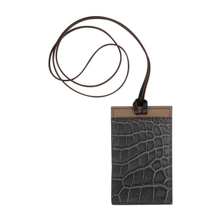 Hermes Cardholder Graphite Matte Porosus Crocodile / Etoupe Epsom Petit h For Sale 1