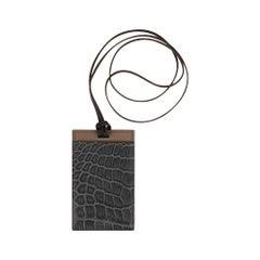 Hermes Cardholder Graphite Matte Porosus Crocodile / Etoupe Epsom Petit h