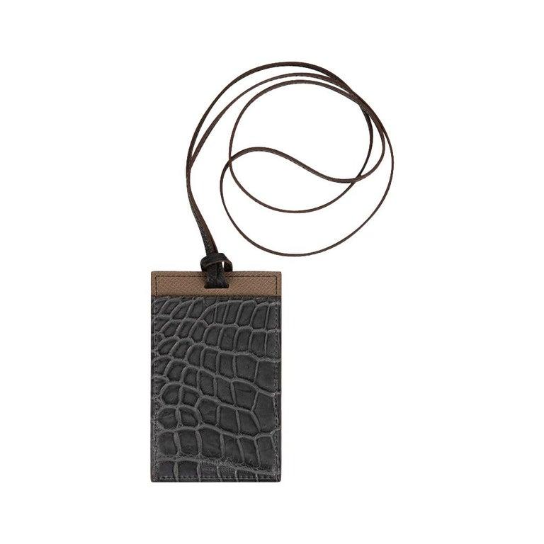 Hermes Cardholder Graphite Matte Porosus Crocodile / Etoupe Epsom Petit h For Sale