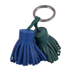 Hermes Carmen Uno - Dos Key Ring Electric Blue Malachite