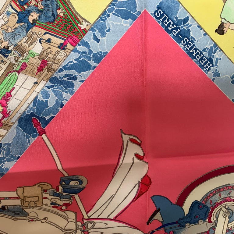 HERMES Carre 90 Les Artisans d'Hermes With Gift Box 90cm Silk Scarf In New Condition For Sale In Delray Beach, FL