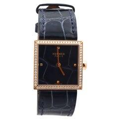 Hermès Carré Cuir Rose Gold Diamond Ladies Watch