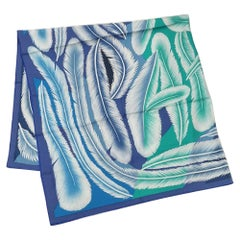 HERMES Carre140 Carre Geant a la Plume plumage Womens scarf blue x green