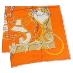 HERMES Carre140 Carre Geant L'INSTRVCTION DV ROY Womens scarf orange