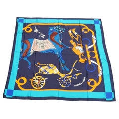HERMES Carre140 Carre Geant TOUT EN CARRE All in Square Womens scarf blue