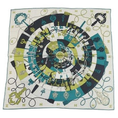HERMES Carre65 TOURS DE CLES Spirals to the Keys Womens scarf green x white