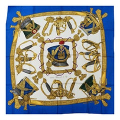 HERMES Carre90 165eme Anniversaire de Sogo Womens scarf blue x white
