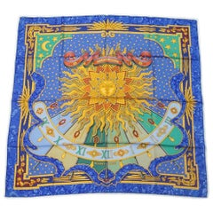 HERMES Carre90 CARPE DIEM Womens scarf blue