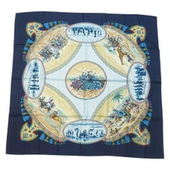 HERMES Carre90 CAVALIERS PEULS Horsemen of the Peuls tribe Womens scarf Navy