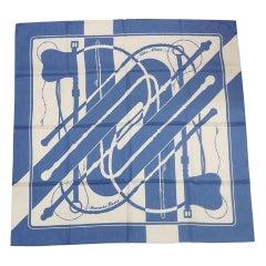 HERMES Carre90 Clic Clac Clic Clac Womens scarf blue