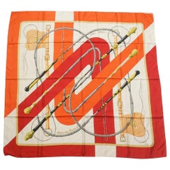 HERMES Carre90 Clic Clac Clic Clac Womens scarf red x white