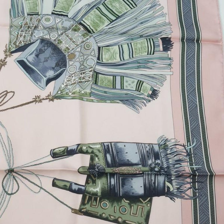 HERMES Carre90 CUIRS DU DESERT Desert leather decoration Womens scarf pink For Sale 1