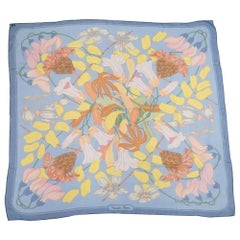 HERMES Carre90 Flower pattern Chiffon Womens scarf blue