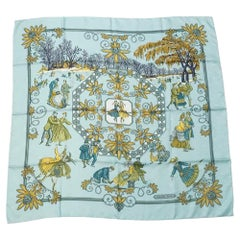 HERMES Carre90 Joies d' Hiver Winter Delight Womens scarf Light blue